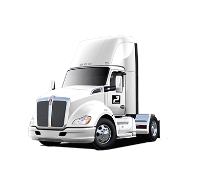 White Kenworth single axle day-cab truck.
