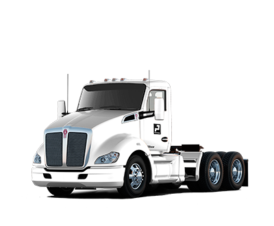 White Kenworth tandem axle day-cab truck.