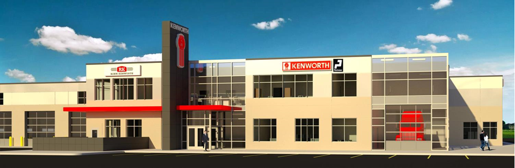 Architectural rendering of a new dealership.